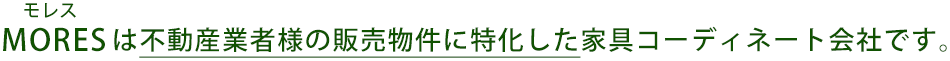 MORES(モレス)は不動産業者様の販売物件に特化した家具コーディネート会社です。